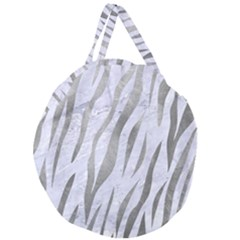 Skin3 White Marble & Silver Paint (r) Giant Round Zipper Tote by trendistuff