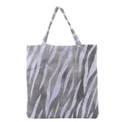 Skin3 White Marble & Silver Paint Grocery Tote Bag by trendistuff