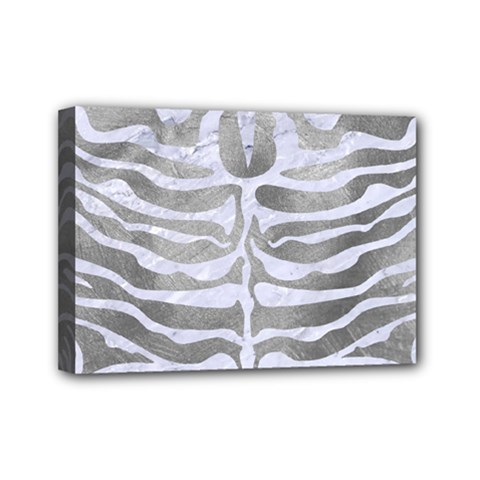 Skin2 White Marble & Silver Paint Mini Canvas 7  X 5  by trendistuff
