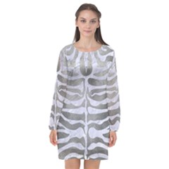 Skin2 White Marble & Silver Paint Long Sleeve Chiffon Shift Dress  by trendistuff