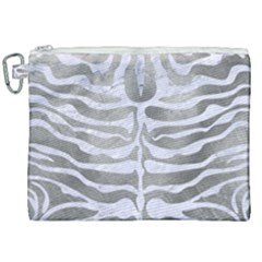 Skin2 White Marble & Silver Paint Canvas Cosmetic Bag (xxl) by trendistuff