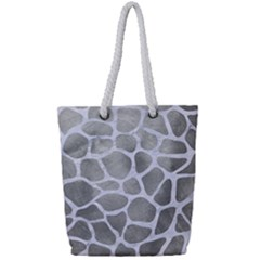 Skin1 White Marble & Silver Paint (r) Full Print Rope Handle Tote (small) by trendistuff