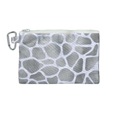 Skin1 White Marble & Silver Paint (r) Canvas Cosmetic Bag (medium) by trendistuff