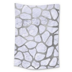Skin1 White Marble & Silver Paint Large Tapestry by trendistuff