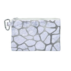 Skin1 White Marble & Silver Paint Canvas Cosmetic Bag (medium) by trendistuff