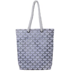 Scales3 White Marble & Silver Paint (r) Full Print Rope Handle Tote (small) by trendistuff