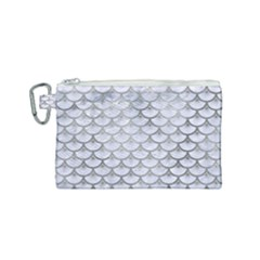 Scales3 White Marble & Silver Paint (r) Canvas Cosmetic Bag (small)