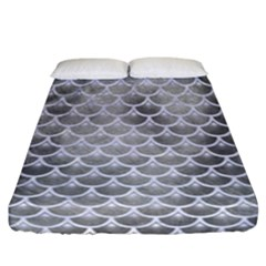 Scales3 White Marble & Silver Paint Fitted Sheet (california King Size) by trendistuff