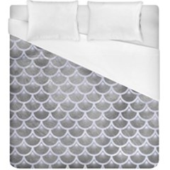 Scales3 White Marble & Silver Paint Duvet Cover (king Size) by trendistuff
