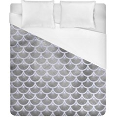 Scales3 White Marble & Silver Paint Duvet Cover (california King Size) by trendistuff