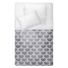 Scales3 White Marble & Silver Paint Duvet Cover (single Size) by trendistuff