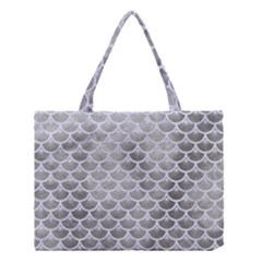 Scales3 White Marble & Silver Paint Medium Tote Bag by trendistuff