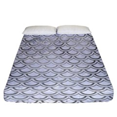 Scales2 White Marble & Silver Paint (r) Fitted Sheet (california King Size) by trendistuff