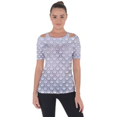 Scales2 White Marble & Silver Paint (r) Short Sleeve Top