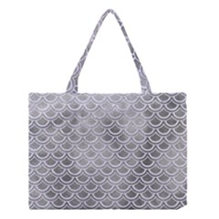 Scales2 White Marble & Silver Paint Medium Tote Bag by trendistuff