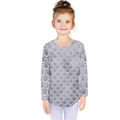 Scales2 White Marble & Silver Paint Kids  Long Sleeve Tee