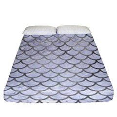 Scales1 White Marble & Silver Paint (r) Fitted Sheet (california King Size) by trendistuff