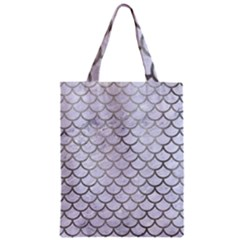 Scales1 White Marble & Silver Paint (r) Zipper Classic Tote Bag by trendistuff