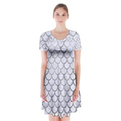Scales1 White Marble & Silver Paint (r) Short Sleeve V Neck Flare Dress