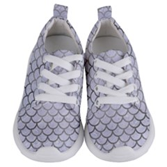 Scales1 White Marble & Silver Paint (r) Kids  Lightweight Sports Shoes