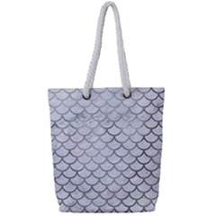 Scales1 White Marble & Silver Paint (r) Full Print Rope Handle Tote (small) by trendistuff