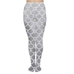 Scales1 White Marble & Silver Paint Women s Tights by trendistuff