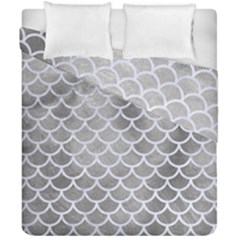 Scales1 White Marble & Silver Paint Duvet Cover Double Side (california King Size) by trendistuff