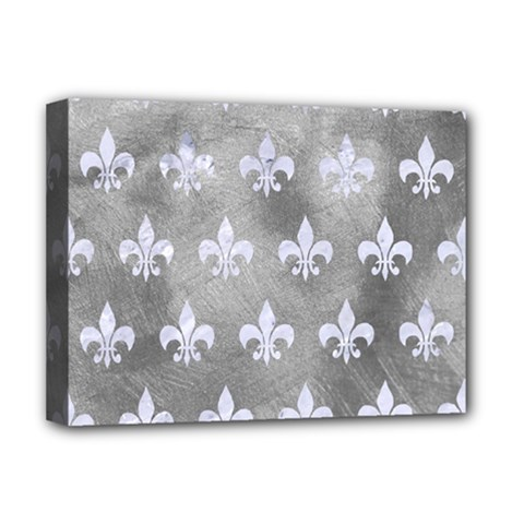 Royal1 White Marble & Silver Paint (r) Deluxe Canvas 16  X 12   by trendistuff