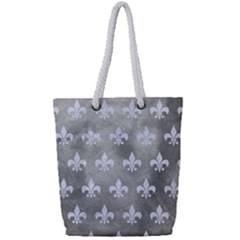 Royal1 White Marble & Silver Paint (r) Full Print Rope Handle Tote (small) by trendistuff