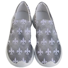 Royal1 White Marble & Silver Paint (r) Women s Lightweight Slip Ons by trendistuff