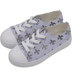 Royal1 White Marble & Silver Paint Kids  Low Top Canvas Sneakers by trendistuff