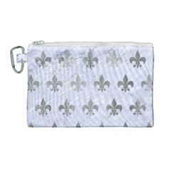 Royal1 White Marble & Silver Paint Canvas Cosmetic Bag (large) by trendistuff