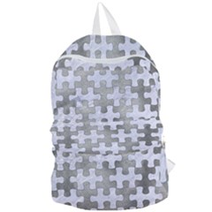 Puzzle1 White Marble & Silver Paint Foldable Lightweight Backpack