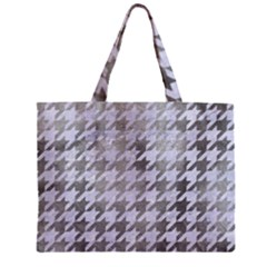 Houndstooth1 White Marble & Silver Paint Zipper Mini Tote Bag by trendistuff