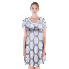Hexagon2 White Marble & Silver Paint (r) Short Sleeve V Neck Flare Dress