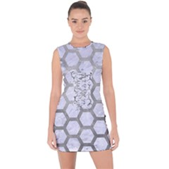 Hexagon2 White Marble & Silver Paint (r) Lace Up Front Bodycon Dress