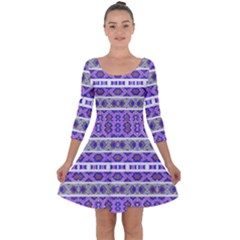 Vintage Striped Ornate Pattern Quarter Sleeve Skater Dress by dflcprints