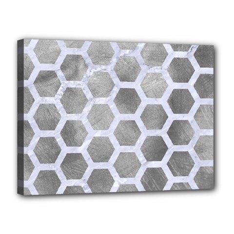 Hexagon2 White Marble & Silver Paint Canvas 16  X 12  by trendistuff