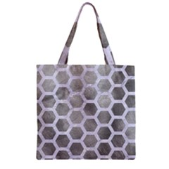 Hexagon2 White Marble & Silver Paint Zipper Grocery Tote Bag by trendistuff