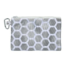 Hexagon2 White Marble & Silver Paint Canvas Cosmetic Bag (large)