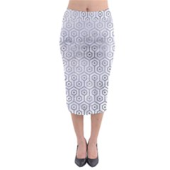 Hexagon1 White Marble & Silver Paint (r) Midi Pencil Skirt by trendistuff