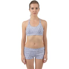Hexagon1 White Marble & Silver Paint (r) Back Web Sports Bra Set by trendistuff