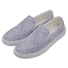 Hexagon1 White Marble & Silver Paint (r) Men s Canvas Slip Ons by trendistuff
