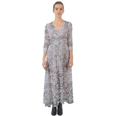 Damask2 White Marble & Silver Paint (r) Button Up Boho Maxi Dress