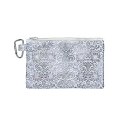 Damask2 White Marble & Silver Paint (r) Canvas Cosmetic Bag (small) by trendistuff