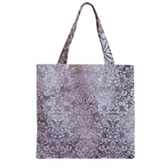 Damask2 White Marble & Silver Paint Zipper Grocery Tote Bag by trendistuff