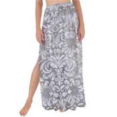 Damask2 White Marble & Silver Paint Maxi Chiffon Tie Up Sarong