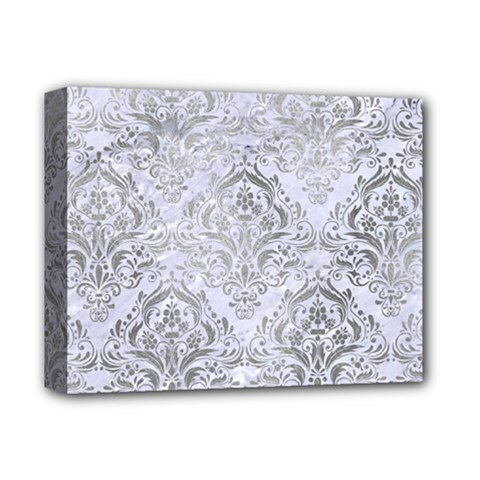 Damask1 White Marble & Silver Paint (r) Deluxe Canvas 14  X 11  by trendistuff