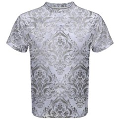 Damask1 White Marble & Silver Paint (r) Men s Cotton Tee by trendistuff