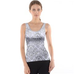 Damask1 White Marble & Silver Paint (r) Tank Top